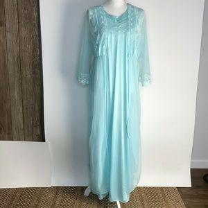 Vintage Womans Light Blue Sheer Lace 2pc Slip Gown